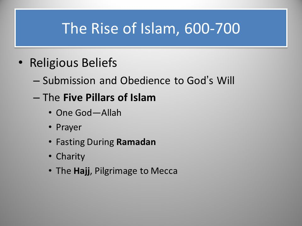 Religious Beliefs – Submission and Obedience to God's Will – The Five Pillars of Islam One God—Allah Prayer Fasting During Ramadan Charity The Hajj, P