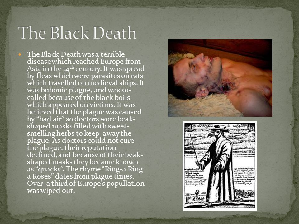 The Black Death was a terrible disease which reached Europe from Asia in the 14 th century.