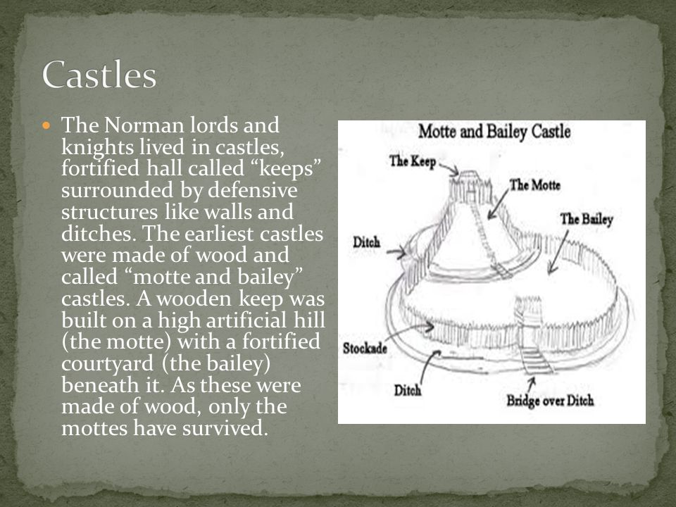 The Norman lords and knights lived in castles, fortified hall called keeps surrounded by defensive structures like walls and ditches.