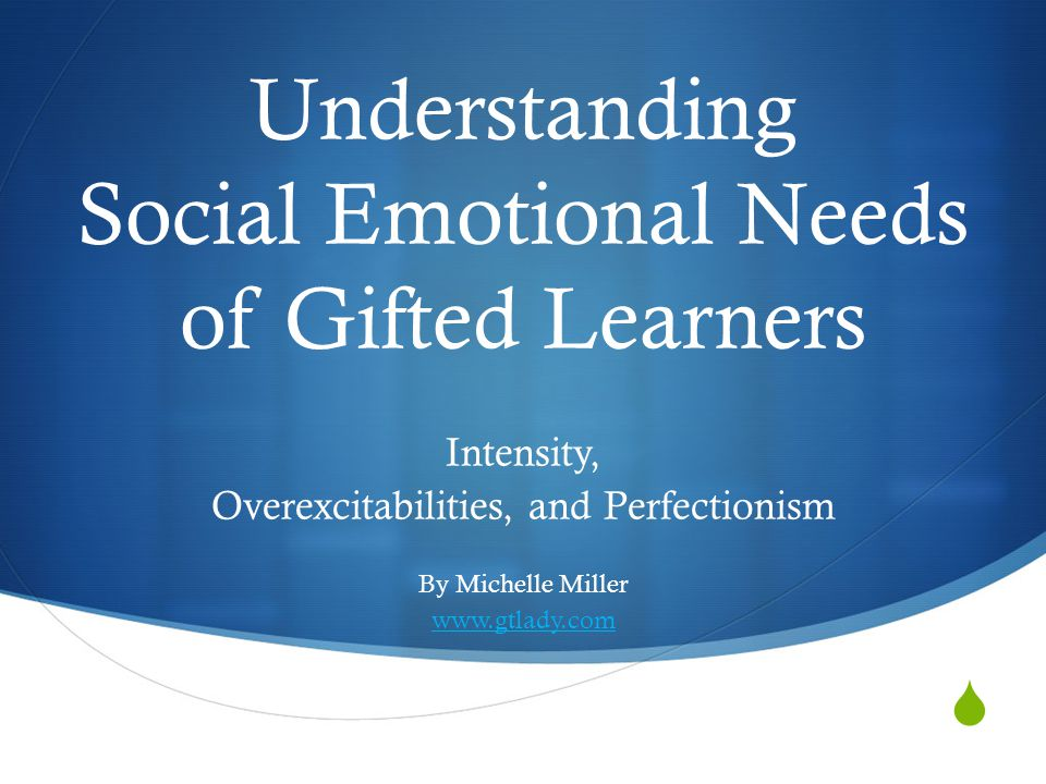  Understanding Social Emotional Needs of Gifted Learners Intensity, Overexcitabilities, and Perfectionism By Michelle Miller www.gtlady.com
