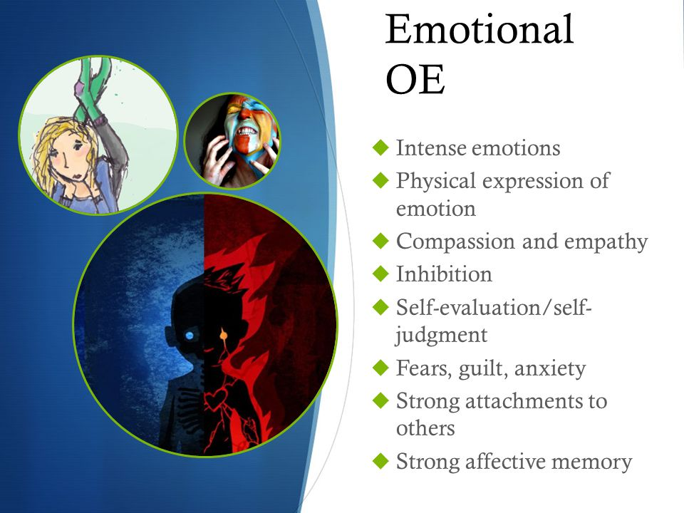 Emotional OE  Intense emotions  Physical expression of emotion  Compassion and empathy  Inhibition  Self-evaluation/self- judgment  Fears, guilt, anxiety  Strong attachments to others  Strong affective memory