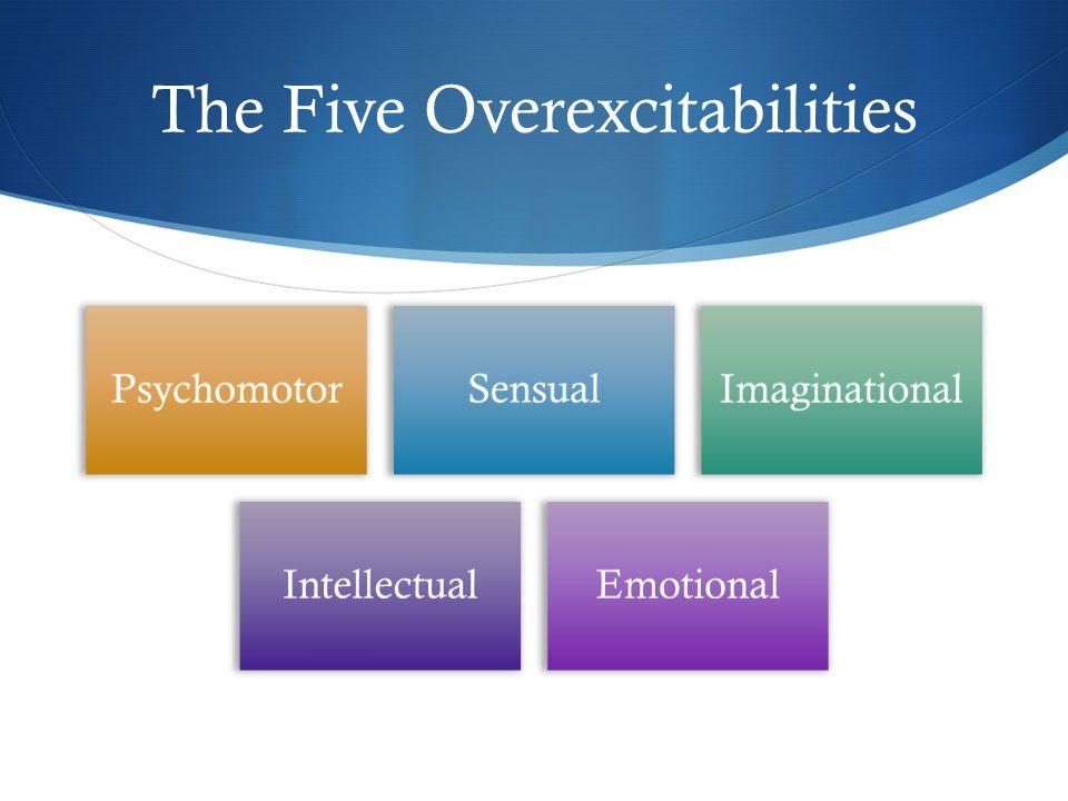 The Five Overexcitabilities PsychomotorSensualImaginational IntellectualEmotional
