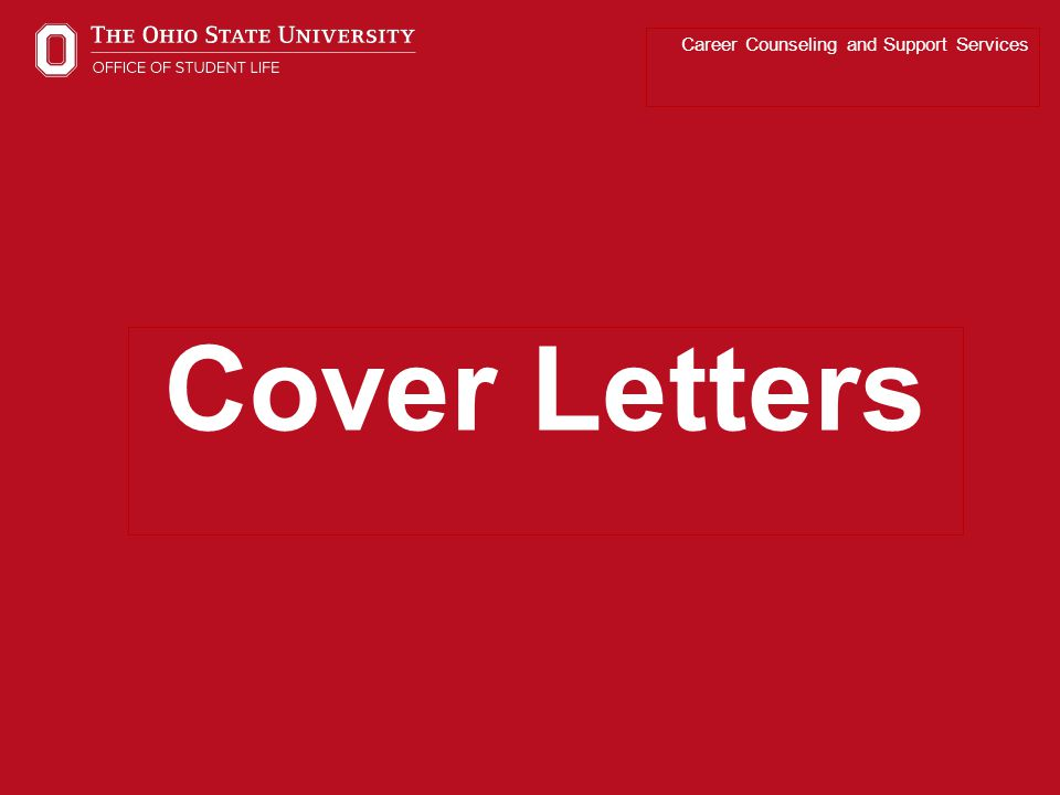 Career Counseling and Support Services Cover Letters