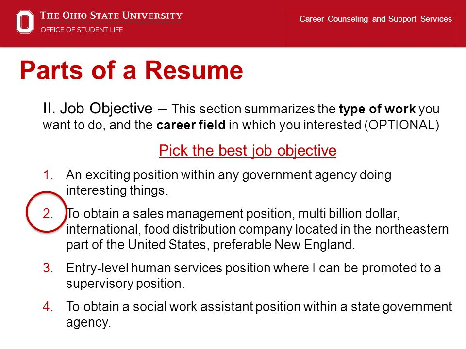 II. Job Objective – This section summarizes the type of work you want to do, and the career field in which you interested (OPTIONAL) Pick the best job