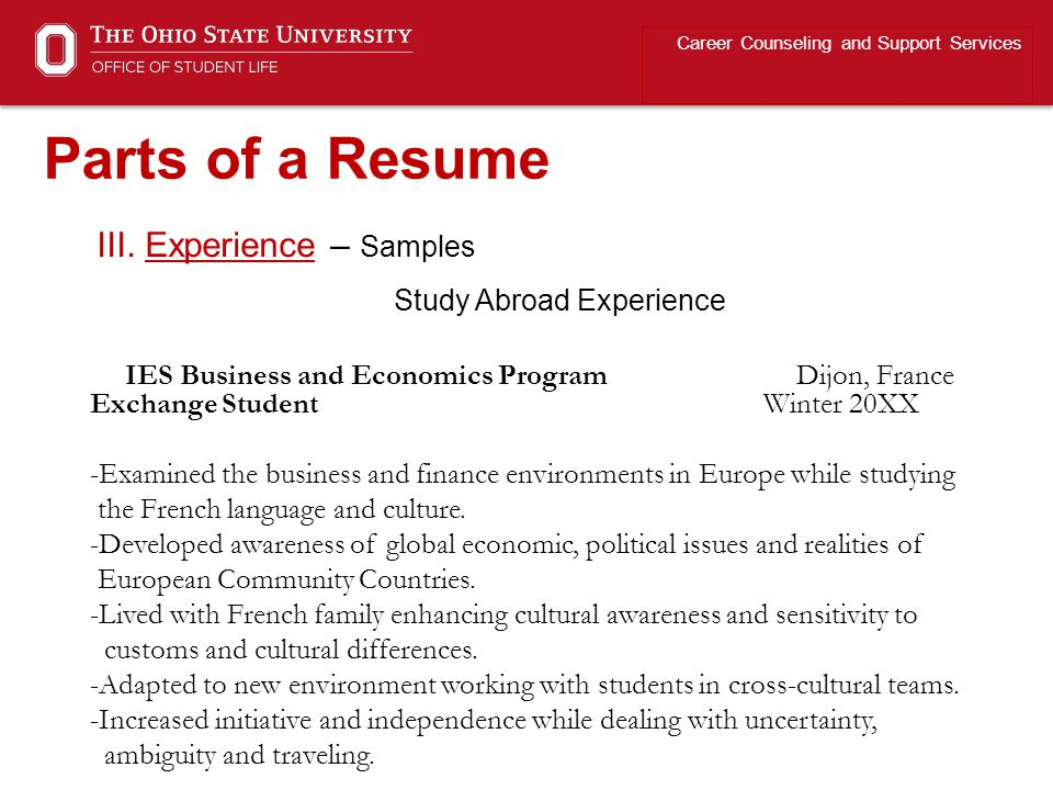 III. Experience – Samples Study Abroad Experience Career Counseling and Support Services Parts of a Resume IES Business and Economics Program Dijon, F