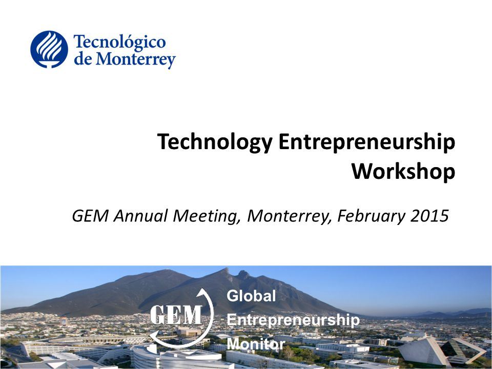 Technology Entrepreneurship Workshop Goal Question, learn and discuss current implications and trends of technology entrepreneurship through several contexts: –Elements of the ecosystems –Public Policy –Regional priorities for high value industries –Starting-up businesses –Scaling-up businesses