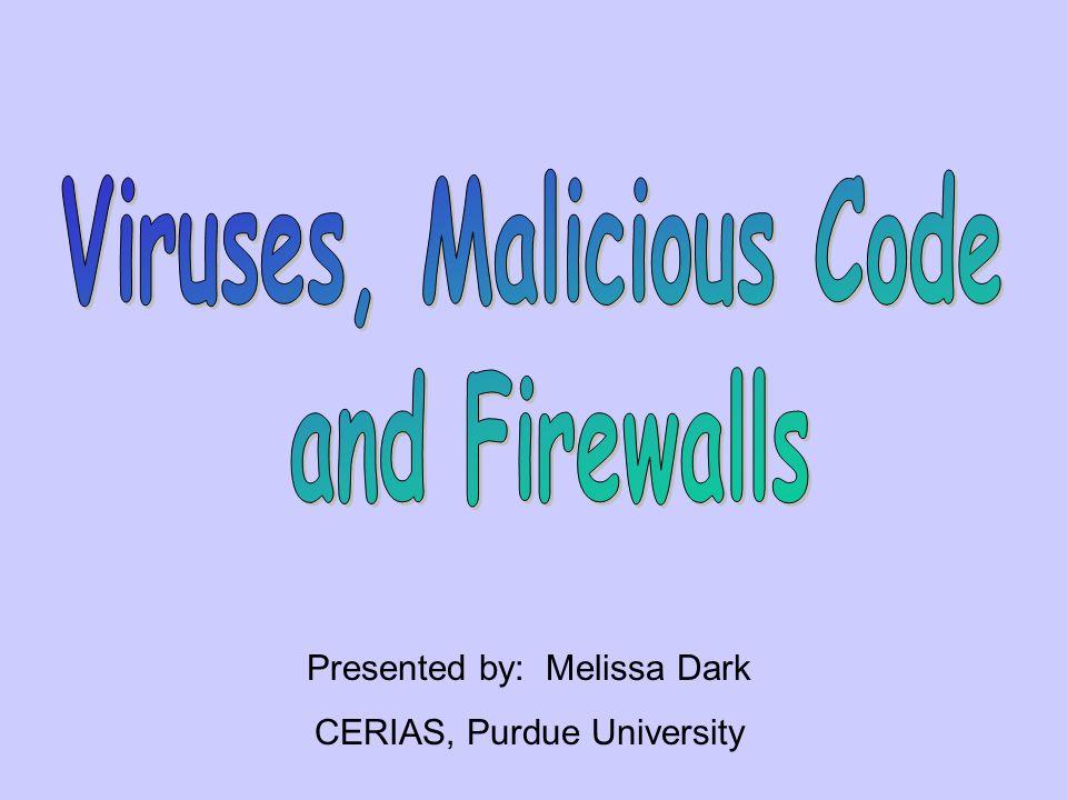 Presented by: Melissa Dark CERIAS, Purdue University