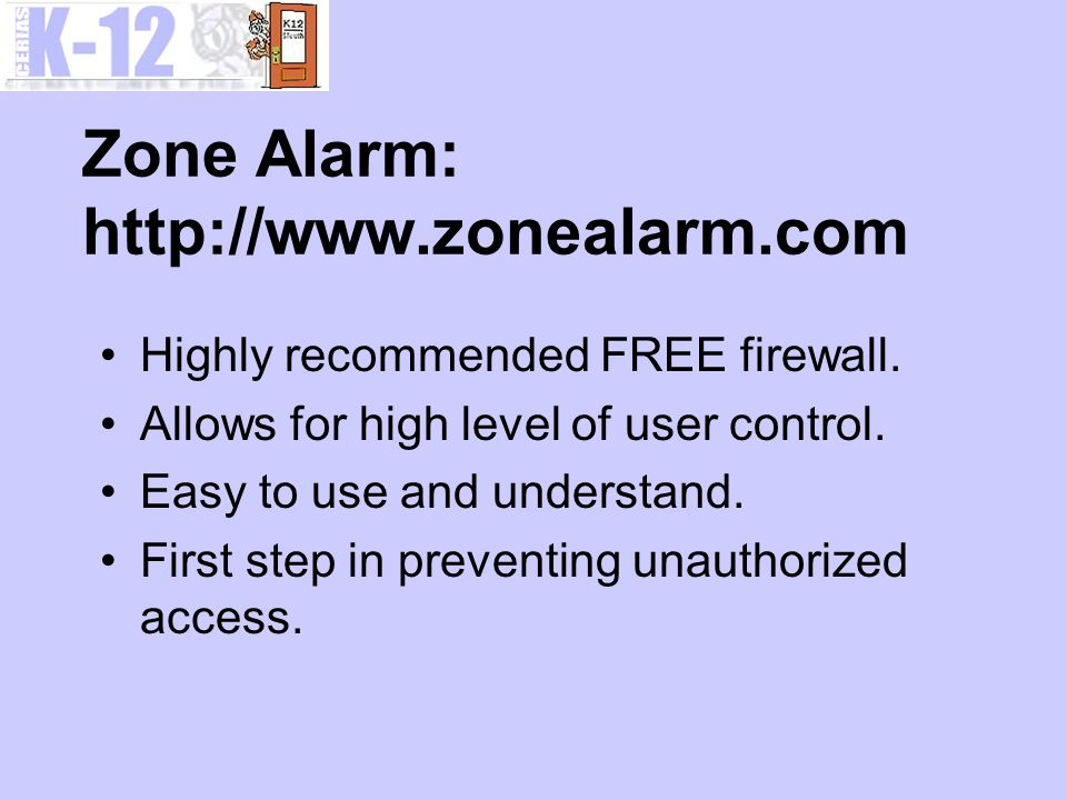 Zone Alarm: http://www.zonealarm.com Highly recommended FREE firewall.