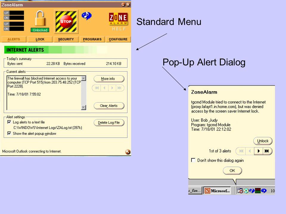 Standard Menu Pop-Up Alert Dialog