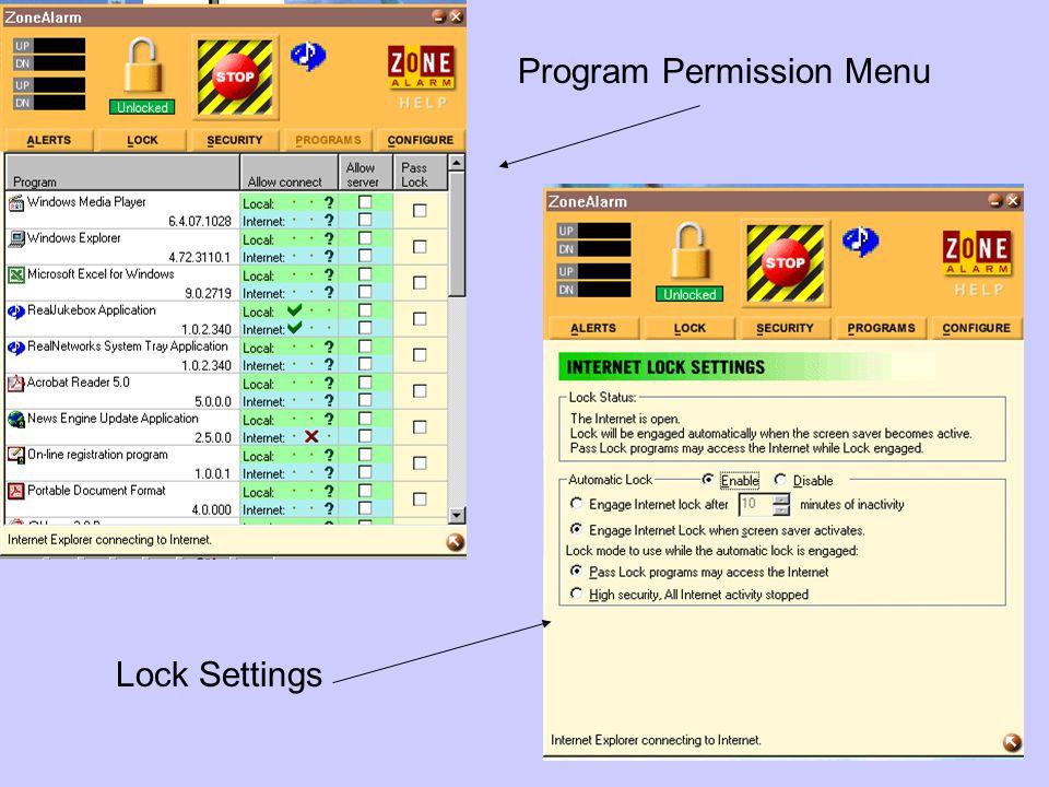 Program Permission Menu Lock Settings