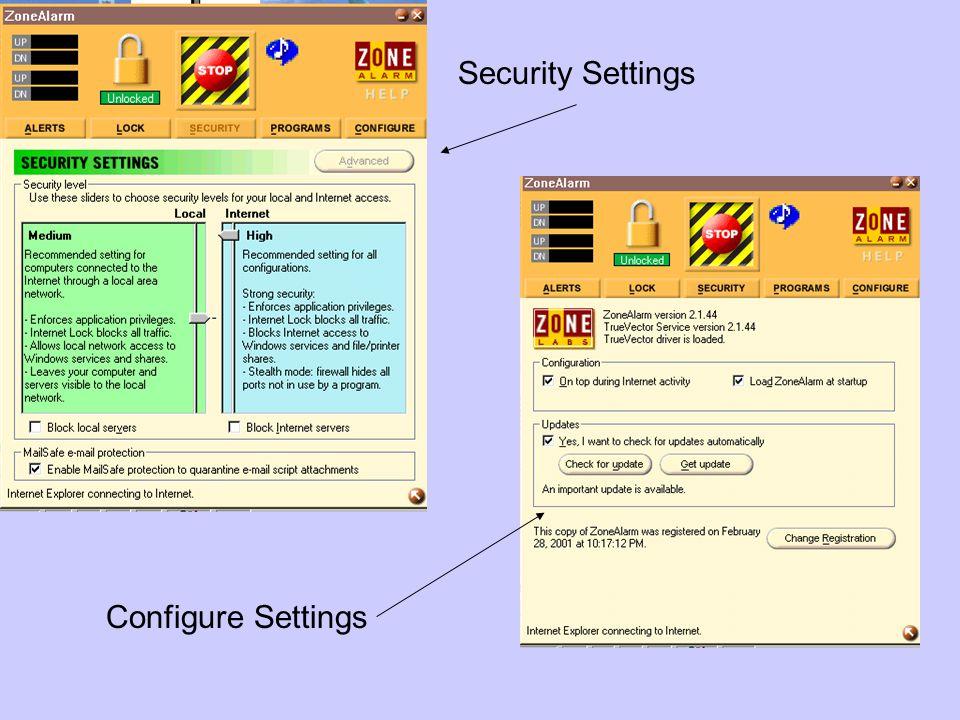 Security Settings Configure Settings