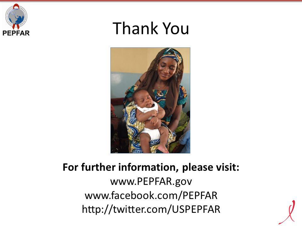 Thank You For further information, please visit: www.PEPFAR.gov www.facebook.com/PEPFAR http://twitter.com/USPEPFAR