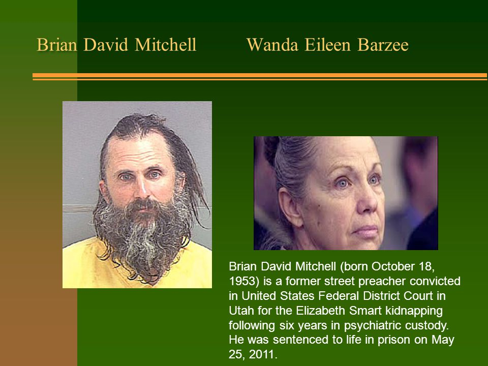 Brian David Mitchell Wanda Eileen Barzee Brian David Mitchell (born October 18, 1953) is a former street preacher convicted in United States Federal District Court in Utah for the Elizabeth Smart kidnapping following six years in psychiatric custody.