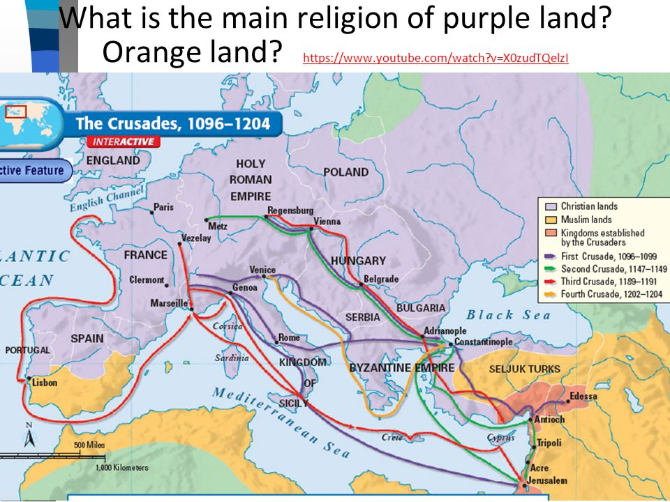 What is the main religion of purple land. Orange land.