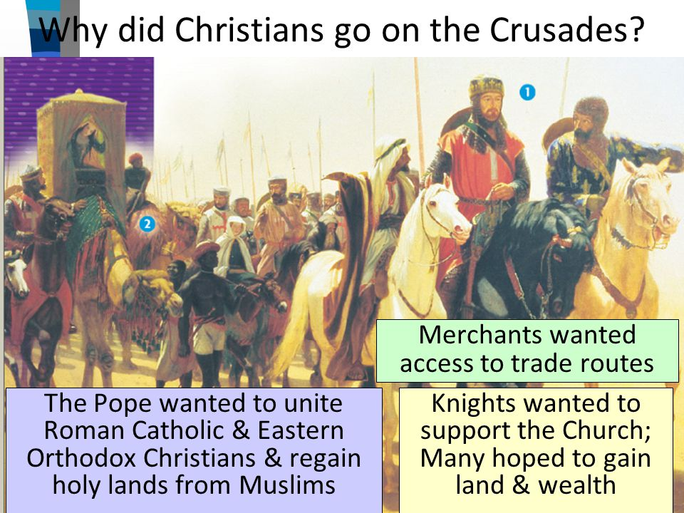 Why did Christians go on the Crusades? The Pope wanted to unite Roman Catholic & Eastern Orthodox Christians & regain holy lands from Muslims Knights