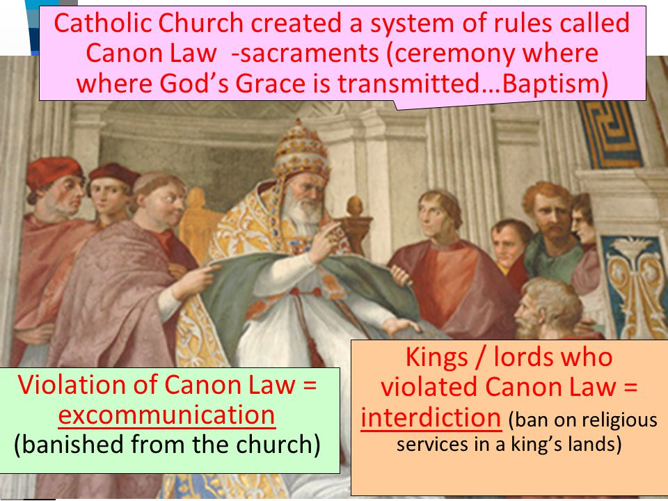 The Role of the Medieval Church Catholic Church created a system of rules called Canon Law -sacraments (ceremony where where God's Grace is transmitte