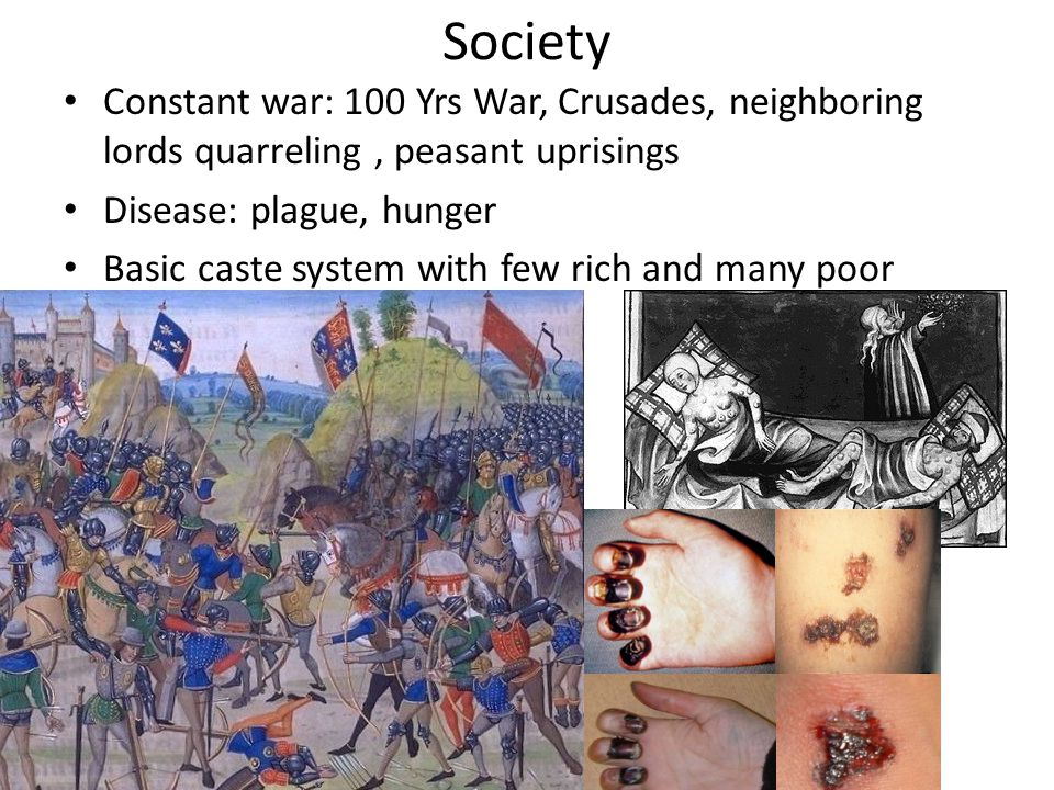 Society Constant war: 100 Yrs War, Crusades, neighboring lords quarreling, peasant uprisings Disease: plague, hunger Basic caste system with few rich and many poor