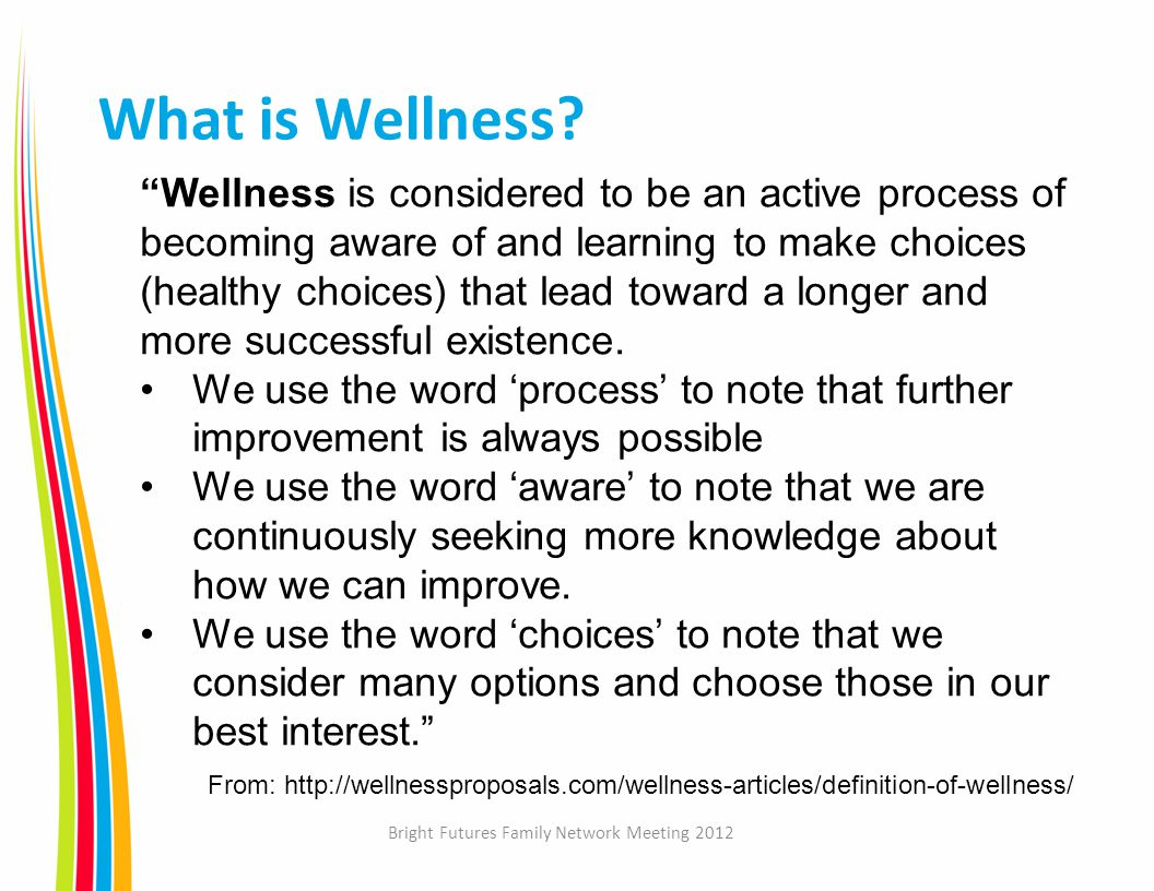 Bright Futures Family Network Meeting 2012 What is Wellness.
