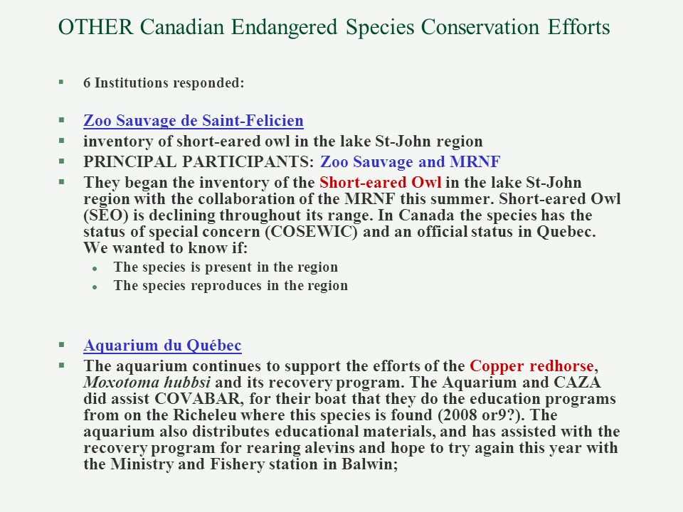 OTHER Canadian Endangered Species Conservation Efforts §6 Institutions responded: §Zoo Sauvage de Saint-Felicien §inventory of short-eared owl in the lake St-John region §PRINCIPAL PARTICIPANTS: Zoo Sauvage and MRNF §They began the inventory of the Short-eared Owl in the lake St-John region with the collaboration of the MRNF this summer.