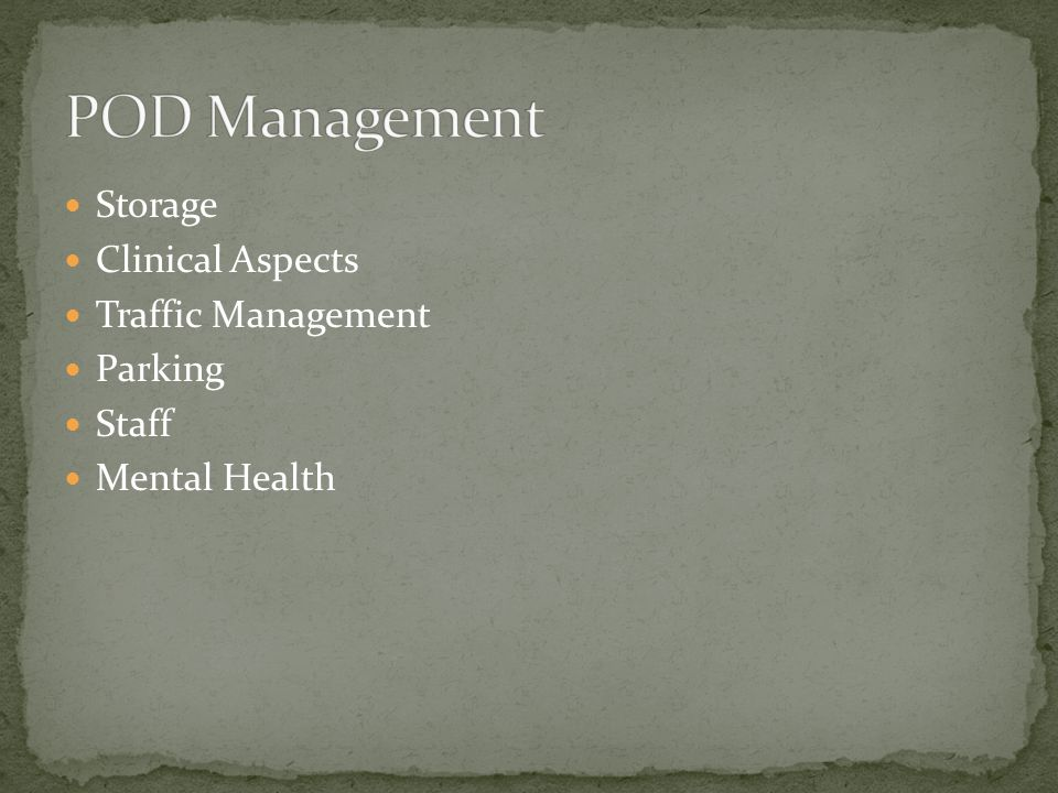 Storage Clinical Aspects Traffic Management Parking Staff Mental Health
