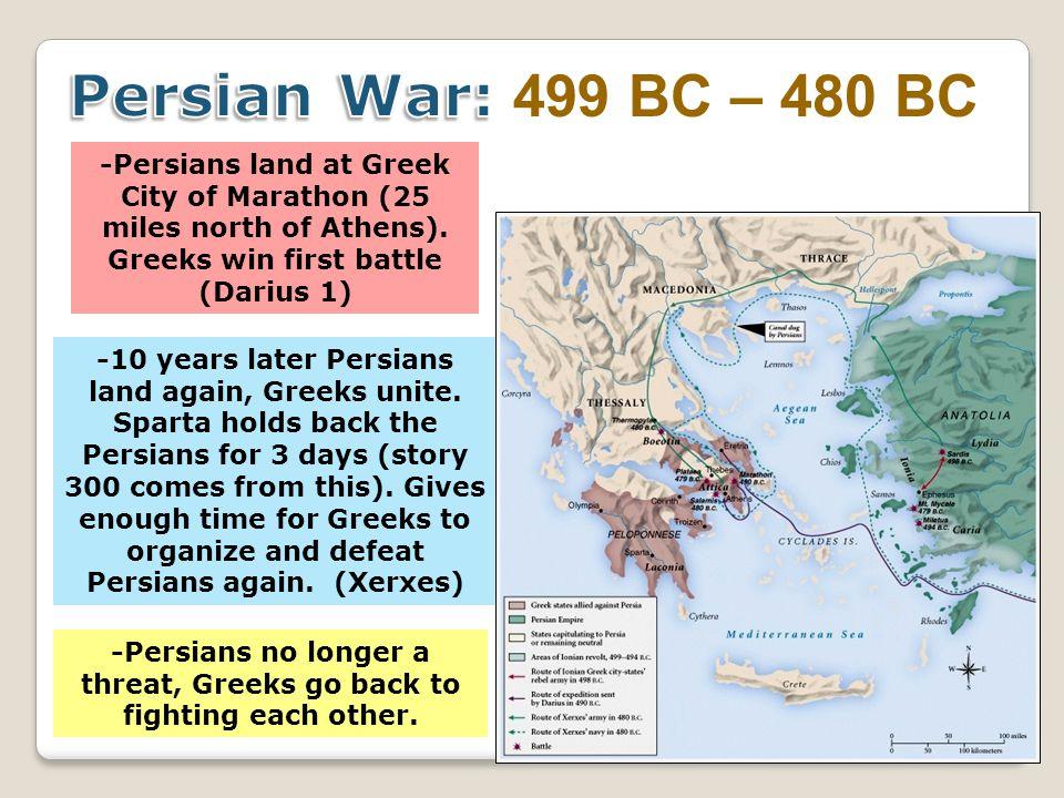 -Persians land at Greek City of Marathon (25 miles north of Athens).