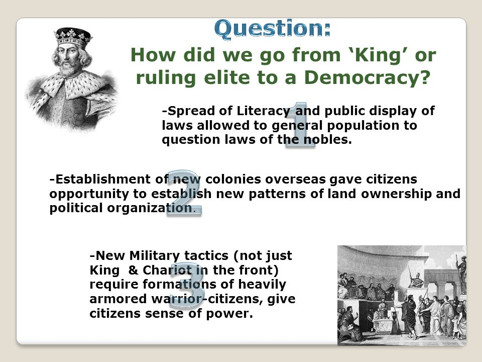How did we go from 'King' or ruling elite to a Democracy? -Spread of Literacy and public display of laws allowed to general population to question law