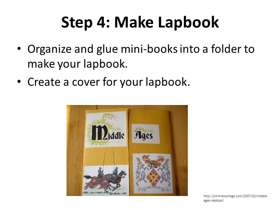 Step 4: Make Lapbook Organize and glue mini-books into a folder to make your lapbook.