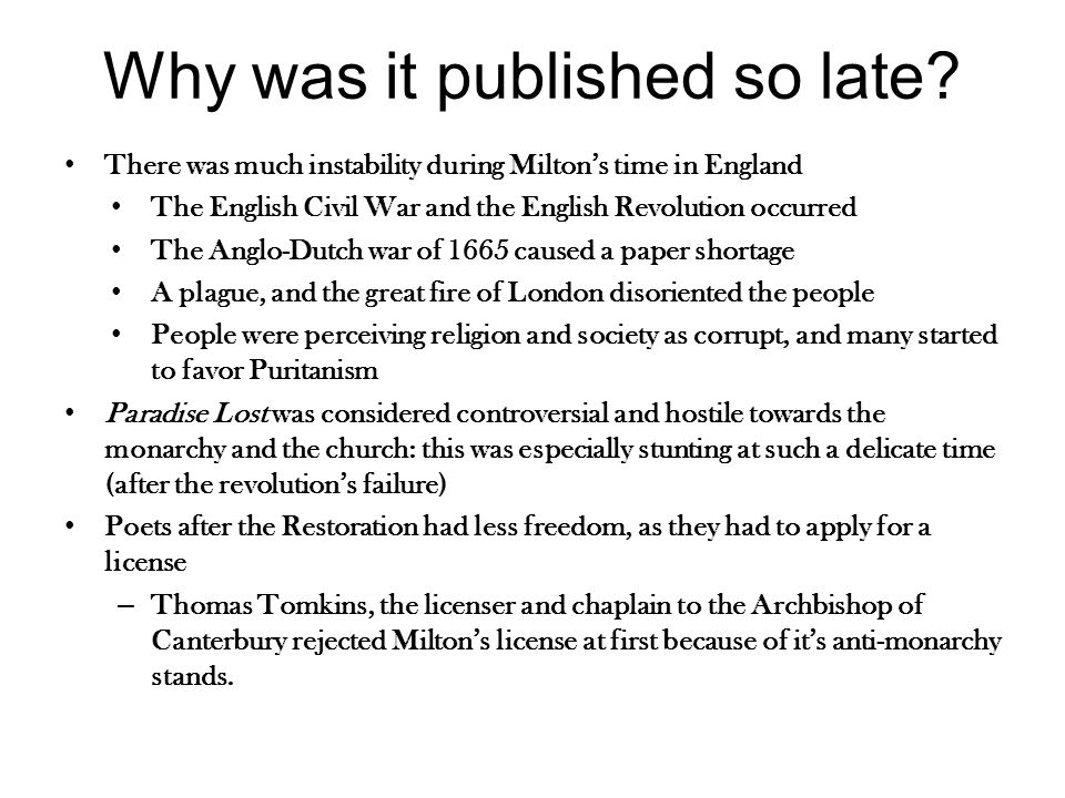 How did it get published.Samuel Simmons, an English printer published Paradise Lost.