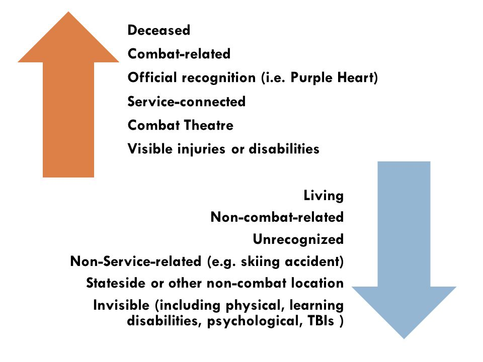Deceased Combat-related Official recognition (i.e. Purple Heart) Service-connected Combat Theatre Visible injuries or disabilities Living Non-combat-r