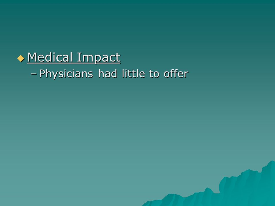  Medical Impact –Physicians had little to offer