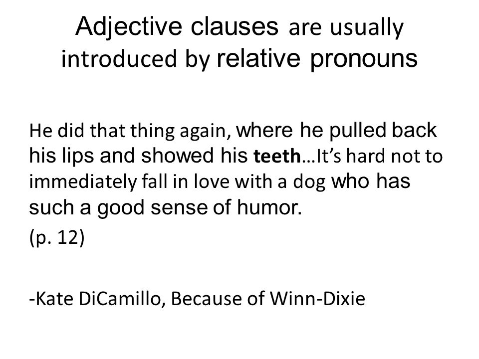 Adjective clauses are usually introduced by relative pronouns He did that thing again, where he pulled back his lips and showed his teeth…It's hard not to immediately fall in love with a dog who has such a good sense of humor.