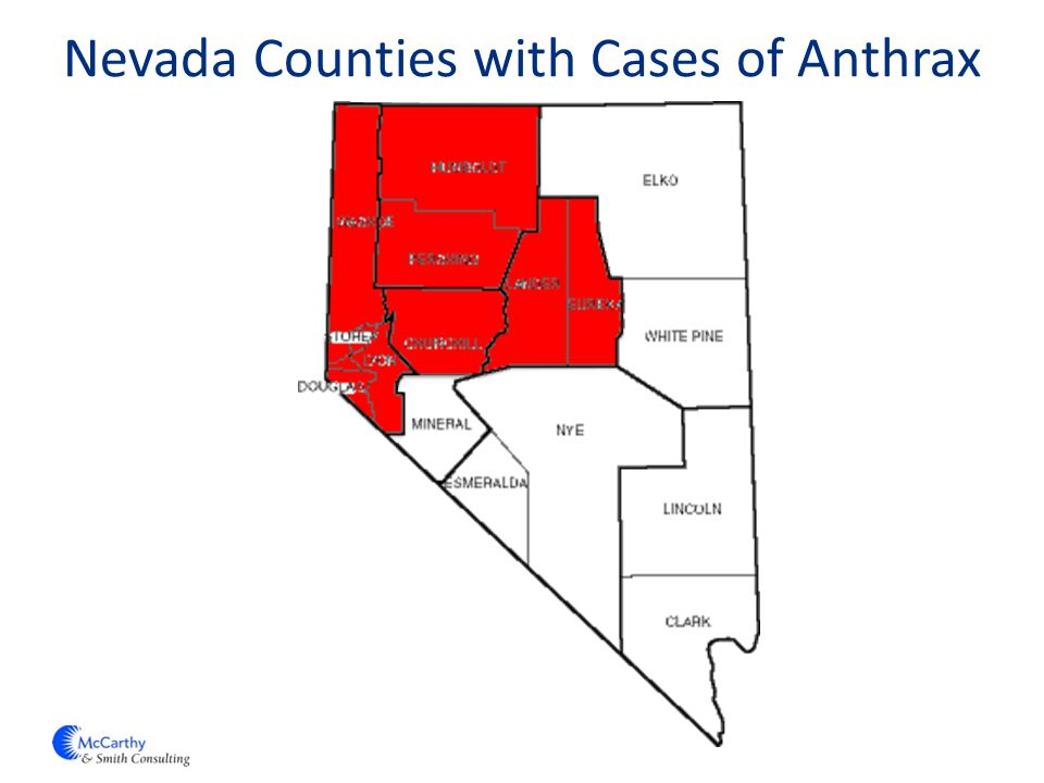 Nevada Counties with Cases of Anthrax