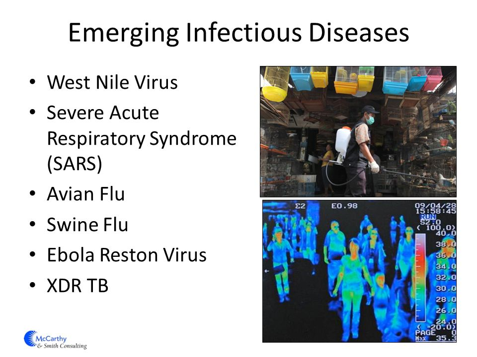 Emerging Infectious Diseases West Nile Virus Severe Acute Respiratory Syndrome (SARS) Avian Flu Swine Flu Ebola Reston Virus XDR TB