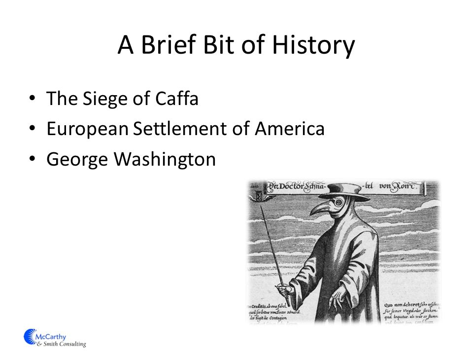 A Brief Bit of History The Siege of Caffa European Settlement of America George Washington