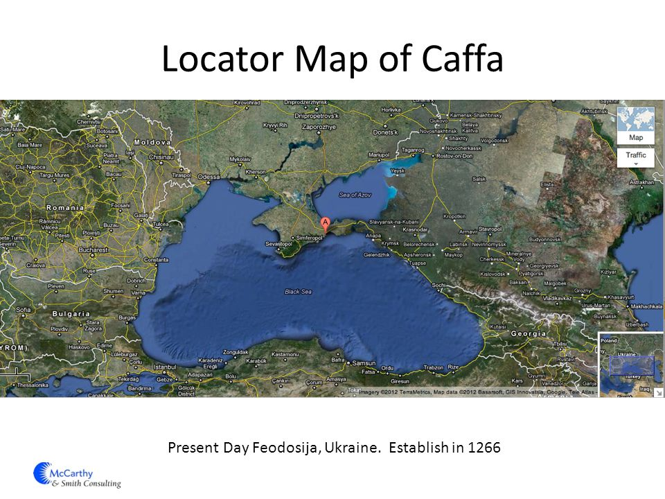 Locator Map of Caffa Present Day Feodosija, Ukraine. Establish in 1266