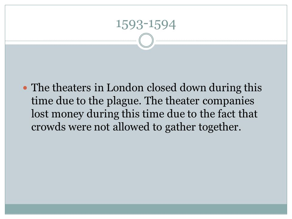 1593-1594 The theaters in London closed down during this time due to the plague.