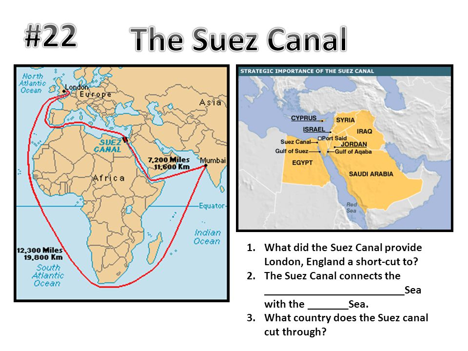 1.What did the Suez Canal provide London, England a short-cut to? 2.The Suez Canal connects the ________________________Sea with the _______Sea. 3.Wha