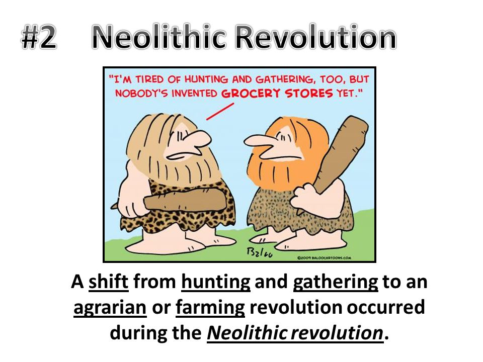 A shift from hunting and gathering to an agrarian or farming revolution occurred during the Neolithic revolution.