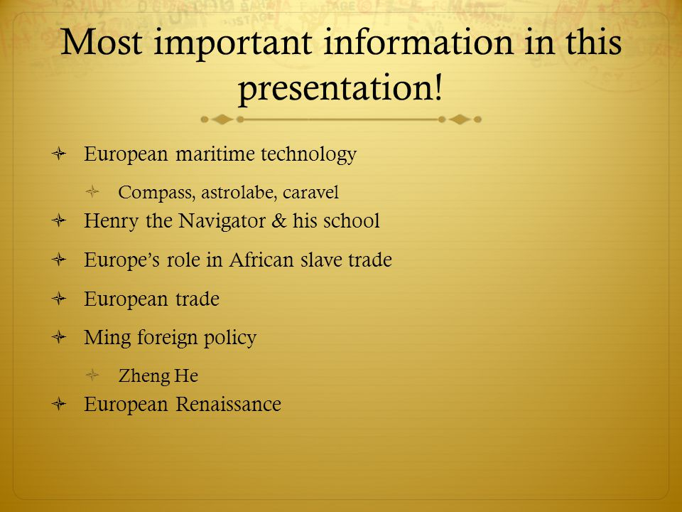 Most important information in this presentation.