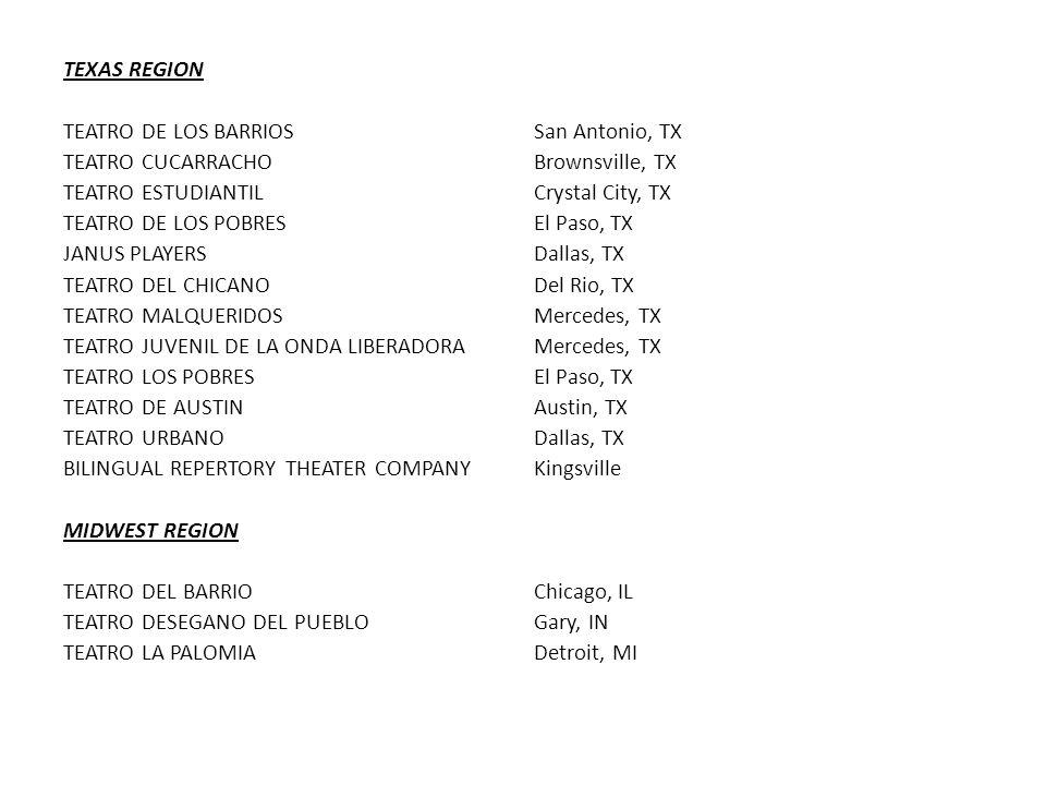 TEXAS REGION TEATRO DE LOS BARRIOSSan Antonio, TX TEATRO CUCARRACHOBrownsville, TX TEATRO ESTUDIANTILCrystal City, TX TEATRO DE LOS POBRESEl Paso, TX JANUS PLAYERSDallas, TX TEATRO DEL CHICANODel Rio, TX TEATRO MALQUERIDOSMercedes, TX TEATRO JUVENIL DE LA ONDA LIBERADORAMercedes, TX TEATRO LOS POBRESEl Paso, TX TEATRO DE AUSTINAustin, TX TEATRO URBANODallas, TX BILINGUAL REPERTORY THEATER COMPANYKingsville MIDWEST REGION TEATRO DEL BARRIOChicago, IL TEATRO DESEGANO DEL PUEBLOGary, IN TEATRO LA PALOMIADetroit, MI