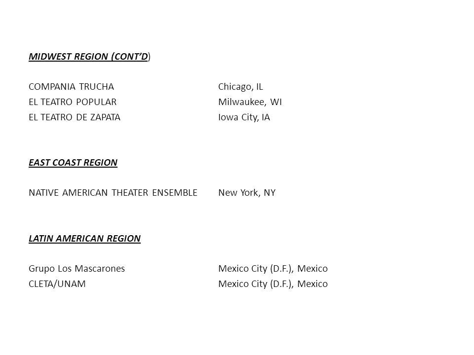 MIDWEST REGION (CONT'D) COMPANIA TRUCHAChicago, IL EL TEATRO POPULARMilwaukee, WI EL TEATRO DE ZAPATAIowa City, IA EAST COAST REGION NATIVE AMERICAN THEATER ENSEMBLENew York, NY LATIN AMERICAN REGION Grupo Los MascaronesMexico City (D.F.), Mexico CLETA/UNAMMexico City (D.F.), Mexico