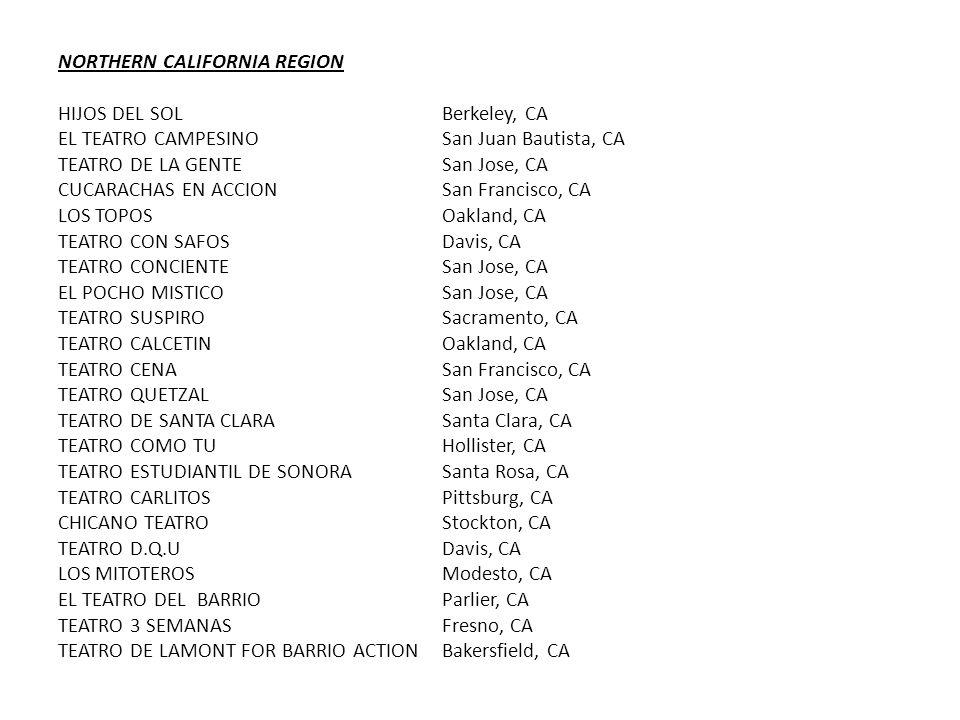 NORTHERN CALIFORNIA REGION HIJOS DEL SOLBerkeley, CA EL TEATRO CAMPESINOSan Juan Bautista, CA TEATRO DE LA GENTESan Jose, CA CUCARACHAS EN ACCIONSan Francisco, CA LOS TOPOSOakland, CA TEATRO CON SAFOSDavis, CA TEATRO CONCIENTESan Jose, CA EL POCHO MISTICOSan Jose, CA TEATRO SUSPIROSacramento, CA TEATRO CALCETINOakland, CA TEATRO CENASan Francisco, CA TEATRO QUETZAL San Jose, CA TEATRO DE SANTA CLARASanta Clara, CA TEATRO COMO TUHollister, CA TEATRO ESTUDIANTIL DE SONORA Santa Rosa, CA TEATRO CARLITOSPittsburg, CA CHICANO TEATROStockton, CA TEATRO D.Q.UDavis, CA LOS MITOTEROSModesto, CA EL TEATRO DEL BARRIOParlier, CA TEATRO 3 SEMANASFresno, CA TEATRO DE LAMONT FOR BARRIO ACTIONBakersfield, CA