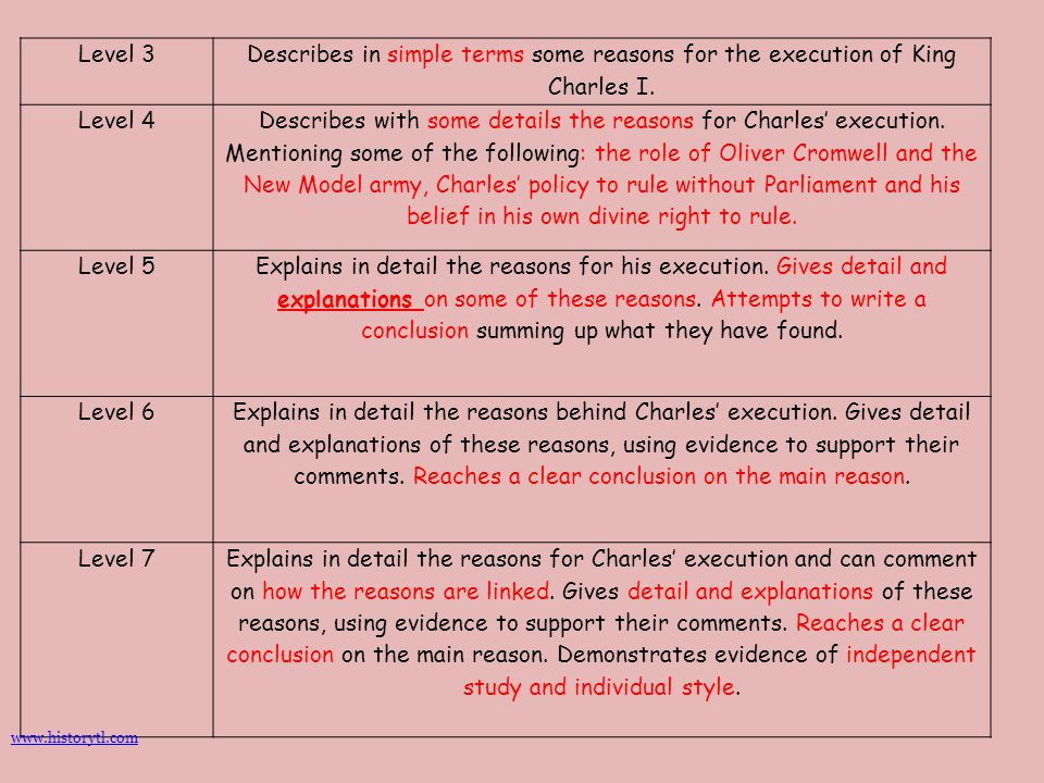 Level 3 Describes in simple terms some reasons for the execution of King Charles I. Level 4 Describes with some details the reasons for Charles' execu