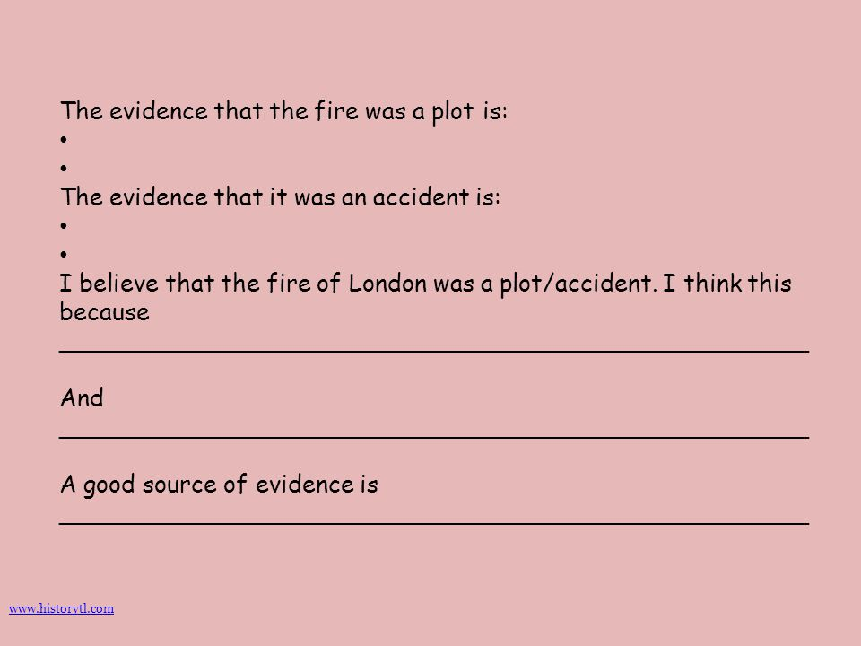 The evidence that the fire was a plot is: The evidence that it was an accident is: I believe that the fire of London was a plot/accident. I think this