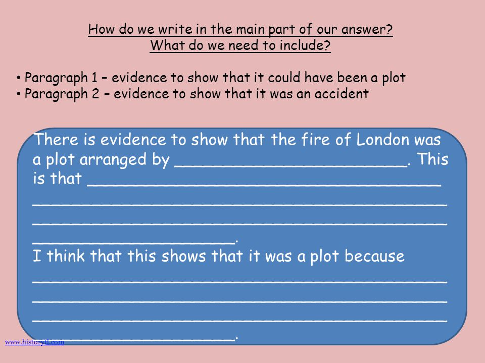 How do we write in the main part of our answer? What do we need to include? Paragraph 1 – evidence to show that it could have been a plot Paragraph 2