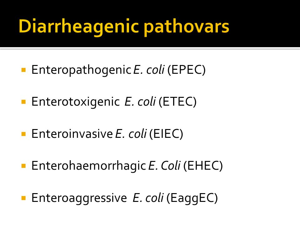  Enteropathogenic E. coli (EPEC)  Enterotoxigenic E. coli (ETEC)  Enteroinvasive E. coli (EIEC)  Enterohaemorrhagic E. Coli (EHEC)  Enteroaggress