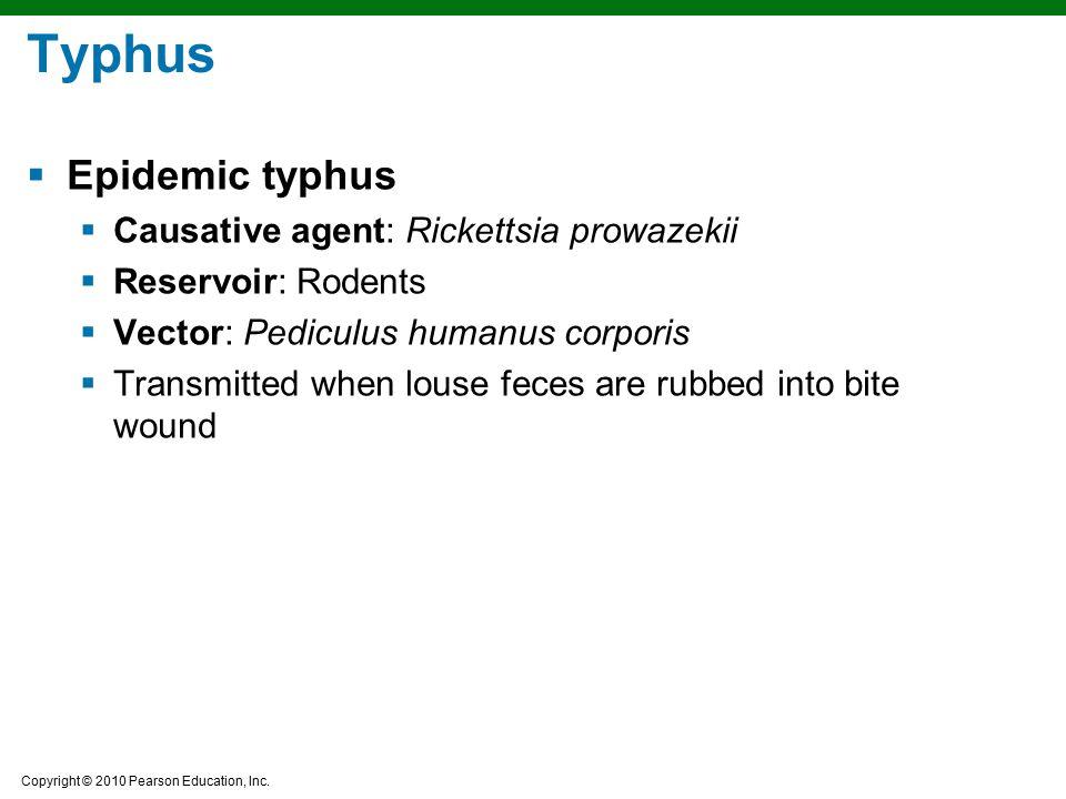 Copyright © 2010 Pearson Education, Inc. Typhus  Epidemic typhus  Causative agent: Rickettsia prowazekii  Reservoir: Rodents  Vector: Pediculus hu