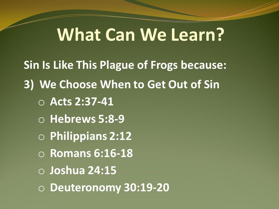 What Can We Learn? Sin Is Like This Plague of Frogs because: 3)We Choose When to Get Out of Sin o Acts 2:37-41 o Hebrews 5:8-9 o Philippians 2:12 o Ro