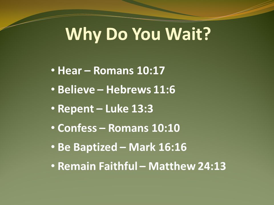 Why Do You Wait.