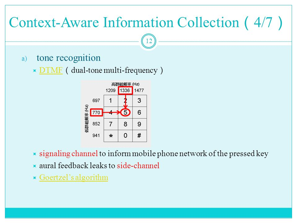 Context-Aware Information Collection ( 4/7 ) 12 a) tone recognition  DTMF ( dual-tone multi-frequency ) DTMF  signaling channel to inform mobile phone network of the pressed key  aural feedback leaks to side-channel  Goertzel's algorithm Goertzel's algorithm